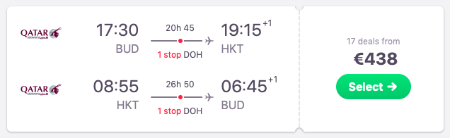 Flights from Budapest, Hungary to Phuket, Thailand