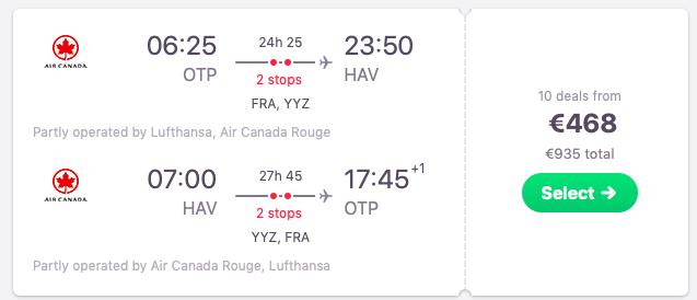 Flights from Bucharest to Havana, Cuba