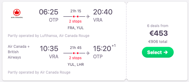 Flights from Bucharest, Romania to Varadero, Cuba
