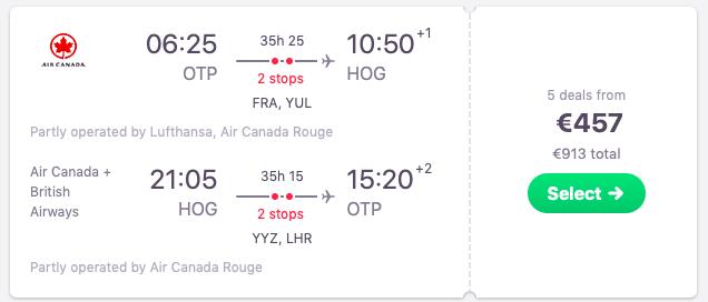 Flights from Bucharest, Romania to Holguin, Cuba