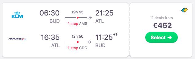 Flights from Budapest to Atlanta, Georgia