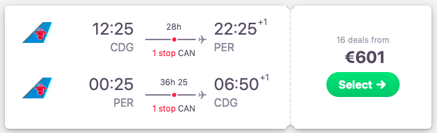 Flights from Paris, France to Perth, Australia