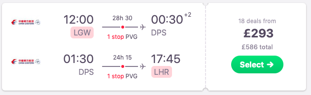 Flights from London to Bali, Indonesia