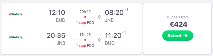 Flights from Budapest to Johannesburg