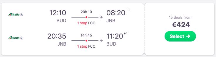 Flights from Budapest to Johannesburg