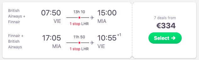 Flights from Vienna to Miami, Florida