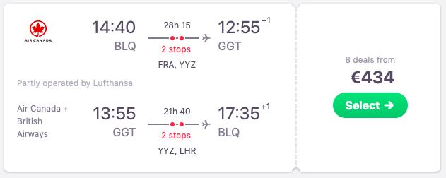 Flights from Bologna to Exuma, Bahamas