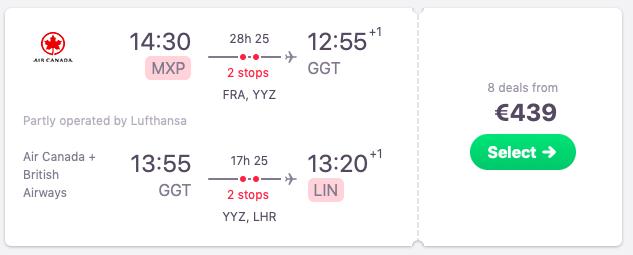 Flights from Milan to Exuma, Bahamas