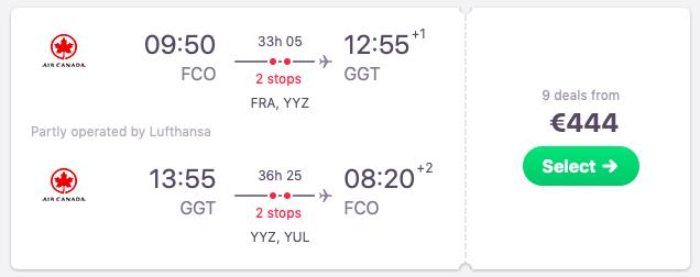 Flights from Rome to Exuma, Bahamas