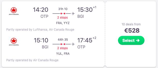 Flights from Bucharest, Romania to Bridgetown, Barbados