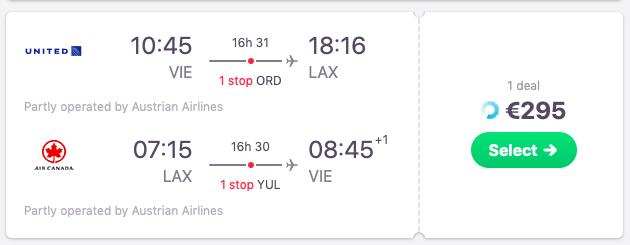 Flights from Vienna, Austria to Los Angeles, California