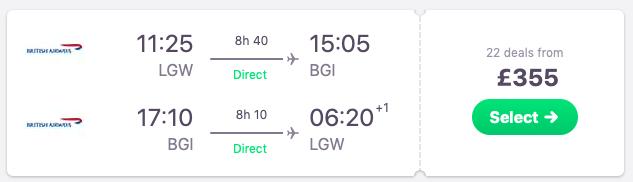 Flights from London to Bridgetown, Barbados