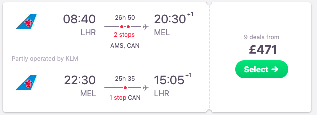 Flights from London, UK to Melbourne, Australia