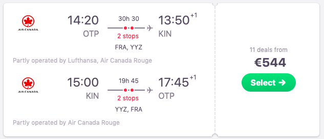 Flights from Bucharest, Romania to Kingston, Jamaica