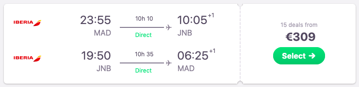 DIRECT flights from Madrid to Johannesburg, South Africa