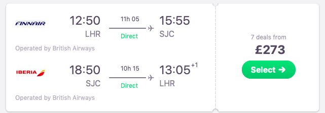DIRECT flights from London to San Jose, California