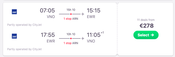 Flights from Vilnius to New York