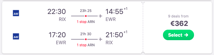 Flights from Riga to New York