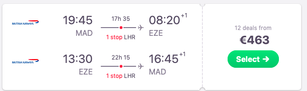 Flights from Madrid to Buenos Aires, Argentina