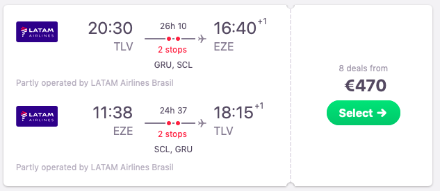 Flights from Tel Aviv to Buenos Aires, Argentina