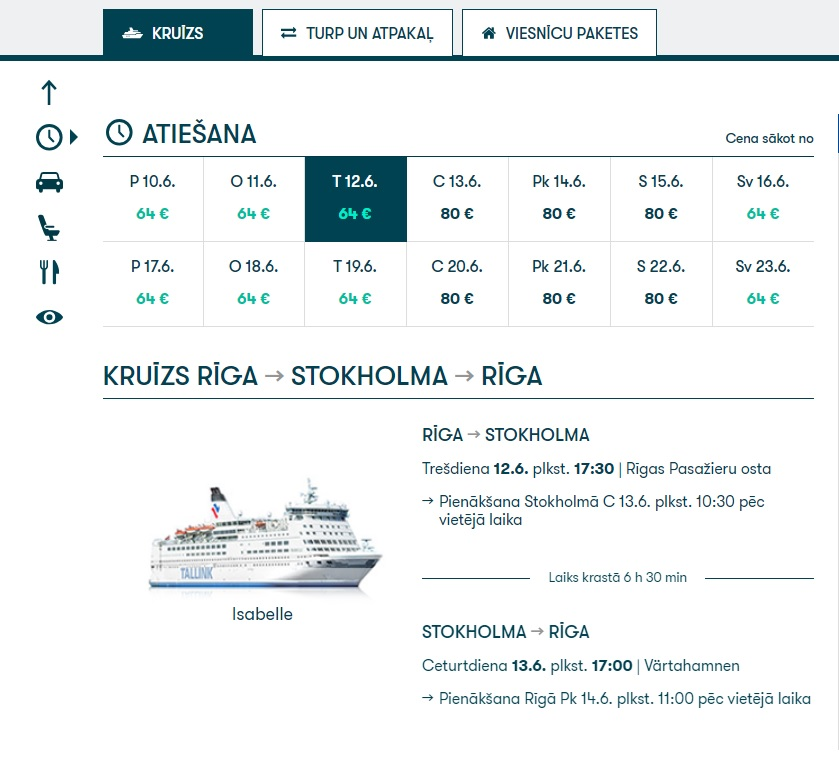 TALLINK PROMOTION cruise from Riga to STOCKHOLM