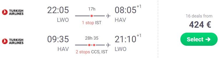 cheap flights lviv havana cuba