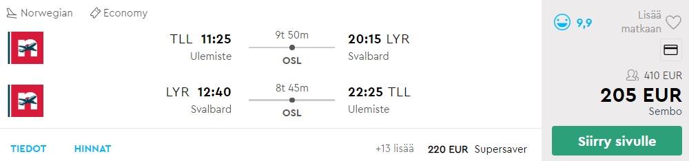 cheap flights tallinn svalbard