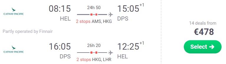 flights helsinki bali