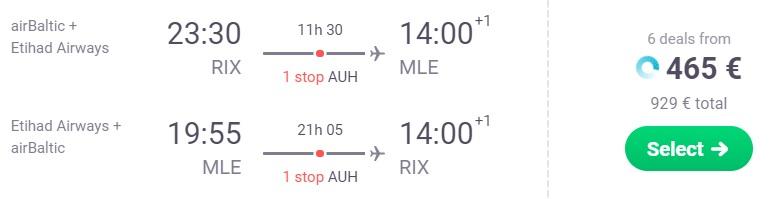 Cheap flights from Riga to MALDIVES