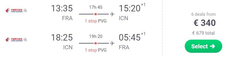 Cheap flights to SOUTH KOREA Seoul from Frankfurt