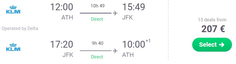 DIRECT flights to NEW YORK from Athens