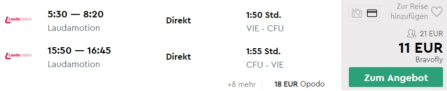 Direct flights from Vienna to Corfu