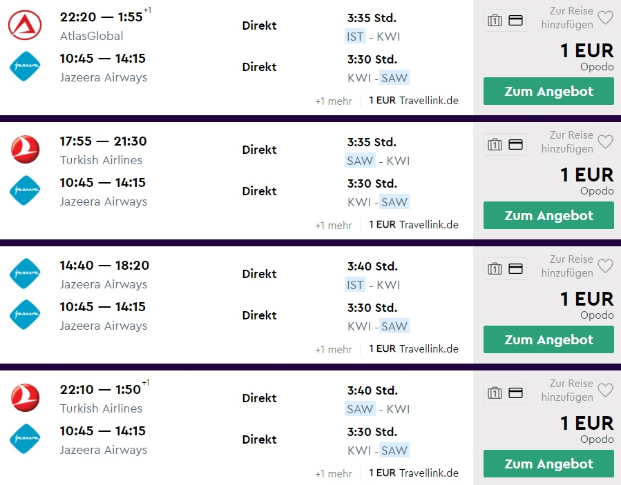 ERROR FARE Flight from Istanbul to KUWAIT