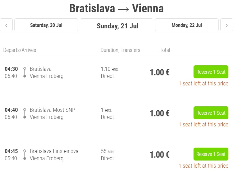 FLIXBUS PROMO Bus between Vienna and Bratislava