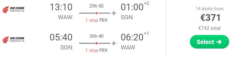 Flights from Warsaw to VIETNAM