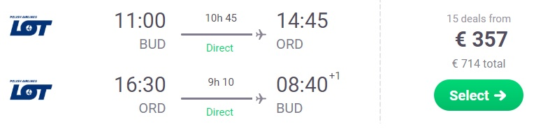 NON STOP flights from Budapest to CHICAGO
