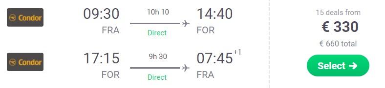 Non stop flights from Frankfurt Germany to BRAZIL