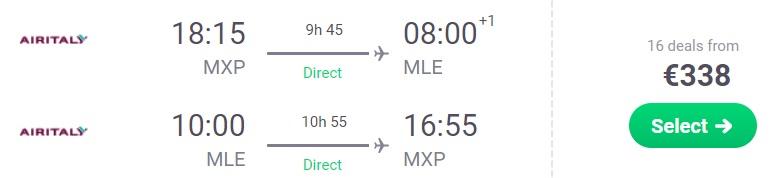 Non stop flights from Milan to MALDIVES