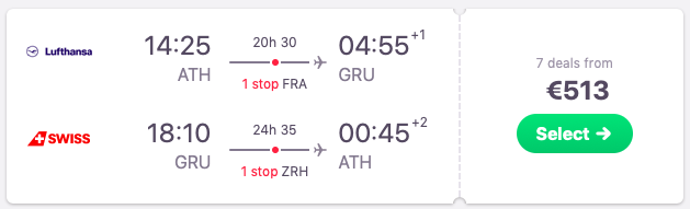 Flights from Athens, Greece to Sao Paolo, Brazil