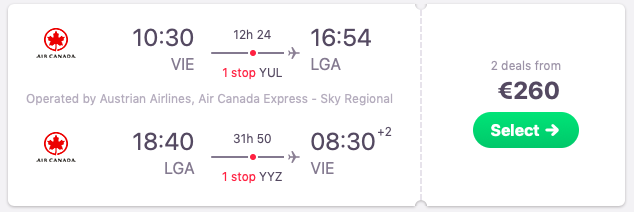 Flights from Vienna, Austria to New York