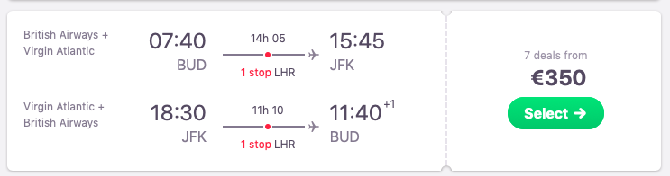 Full-service flights from Budapest, Hungary to New York, USA