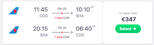 Flights from Paris, France to Shanghai, China