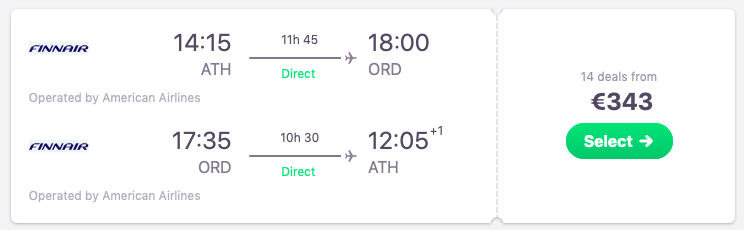 DIRECT flights from Athens, Greece to Chicago