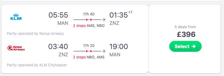 Flights from Manchester, the UK to Zanzibar