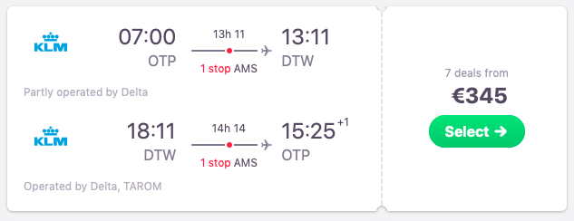 Flights from Bucharest, Romania to Detroit, USA