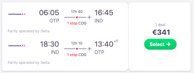 Flights from Bucharest, Romania to Indianapolis , USA
