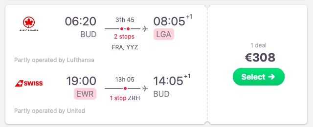 Flights from Budapest, Hungary to New York, USA