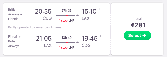 DIRECT flights from Paris to Los Angeles, California