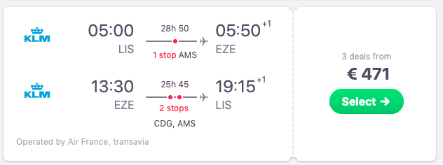 Flights from Lisbon, Portugal to Buenos Aires, Argentina