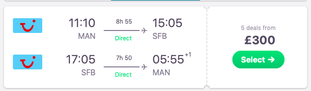 Direct flights from Manchester to Orlando, Florida